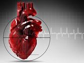 Serce człowieka w ataku, streszczenie tło medyczne — Zdjęcie stockowe