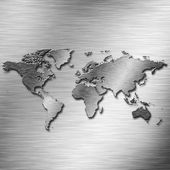 Aluminium Earth map — Stock Photo