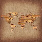 Earth map shaped wooden desk — Stock Photo