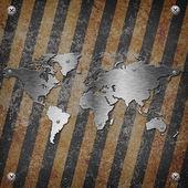 Earth map steel plate — Zdjęcie stockowe