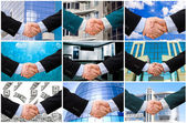 Handslag med moderna skyskrapor — Stockfoto