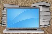 Laptop a knihy — Stock fotografie