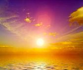 Sunset at coast of the sea — Stockfoto