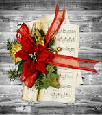 Christmas wreath on the wood background — Stock Photo