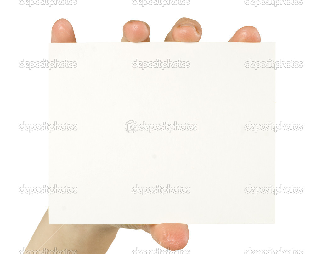 Business card in a hand on the black  Stock Photo #19111653