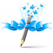 Pencil decorated by bow on white background — Stock Vector