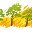 Burning forest trees in fire flames - Stock Vector