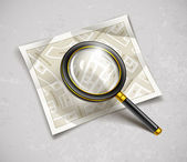 Loupe magnifying glass tool with streets paper map — Vector de stock