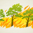 Burning forest trees in fire disaster - Stock Vector