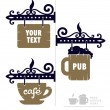 Wooden decorative signs for cafe with cup and beer icons — Stock Vector