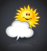 Smiling sun and cloud for text message — Stock Vector