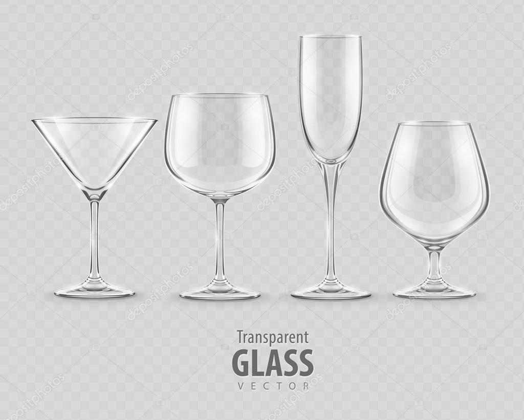 Conjunto de vectores de copas de cristal transparente for Copas de cristal