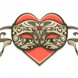 Red heart in vintage decorative mask — Vector de stock