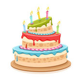 Sweet birthday cake with candles — Stock Vector