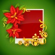 Christmas greeting card with poinsettia flowers and gold jingle bells — Stock Vector