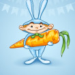 Happy little boy in rabbits costume with big carrot  — Stock Vector
