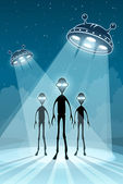UFO alien newcomers and flying saucers — Stock Vector