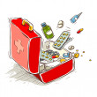 Stock Vector: First aid box with medical drugs and pills