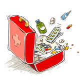 First aid box with medical drugs and pills — Stock Vector