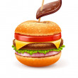 Unhealthy eating concept with hamburger like apple — Stock Vector #39010015