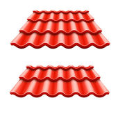 Red corrugated tile element of roof — Stock Vector