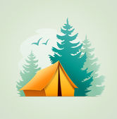 Tent in forest camping — Stock Vector