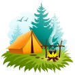 Camping in forest with tent and campfire — Stock Vector #41273307