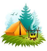 Camping i skogen med tält- och eldningsplatser — Stockvektor