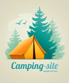 Camping with tent in forest — Stock Vector