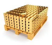 Pallet with bullion of gold — Stock Photo