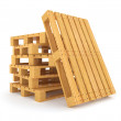 Pile of wooden pallets isolated on white background — Stock Photo
