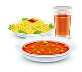 Set meal menu with soup pasta and juice drink — Stock Vector
