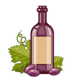Red wine bottle with grapes and green leaf — Stock Vector