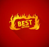 Sign best offer with burning fire silhouette — Vettoriale Stock