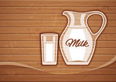 Jug and full glass with milk over wooden plate — Stock Vector