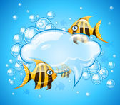 Bubbles cloud in aquarium with gold fishes — Stock Vector