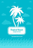 Tropical beach palms sign with clouds and sea waves — Stock Vector
