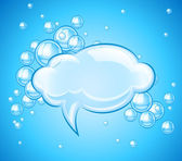 Bubbles cloud in water for message — Stock Vector