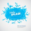 Water pool with blue splashes and falling drops — Stock Vector #49091769