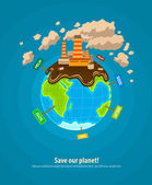 Ecology concept world planet industrial ecocatastrophe — Stock Vector