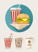 Hamburger and soda in paper cups — Stock Vector