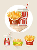 French fries and soda in paper cup — Stock Vector