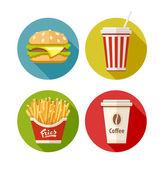 Satz flach symbol mit hamburger pommes soda und kaffee in pappbecher — Stockvektor