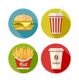 Set of flat icon with hamburger fries soda and coffee in paper cup — Stock Vector