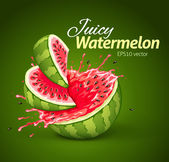 Watermelon with juice splash — Stock Vector