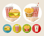 Hamburger, french fries and soda drink in paper cup — Stock Vector