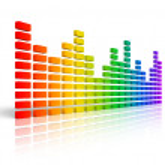 Rainbow graphic equalizer — Stock Photo