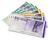 Stack of 200, 100 and 50 danish krone banknotes — Stockfoto