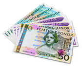 Stack of 100, 50 and 20 swedish krona banknotes — Stock Photo