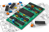 Digital circuit bord met microchips — Stockfoto